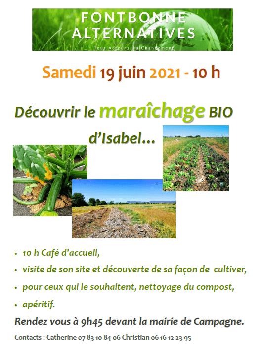 FONTBONNE - Découvrir le maraichage BIO chez Isabel (echo jardins) @ RDV à la mairie de Campagne